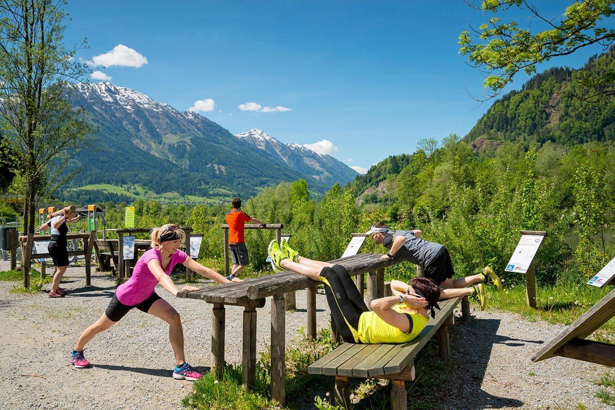 Outdoor Fitnessparcours - Sommerurlaub in St. Johann-Alpendorf, Salzburg